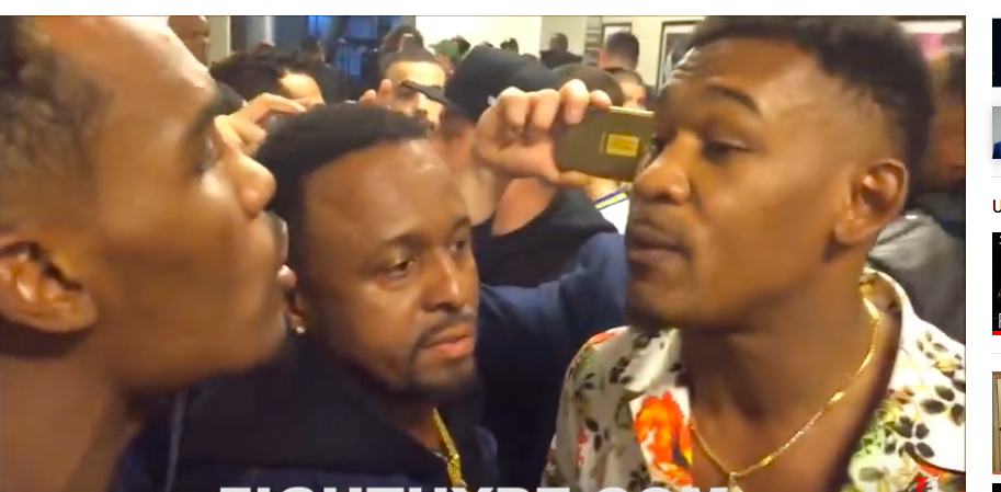 Jermall Charlo and Danny Jacobs talking it out in March of 2018 at Barclays Center.