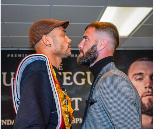Jose Uzcategui and Caleb Plant stared down on Friday, two days before their bout.