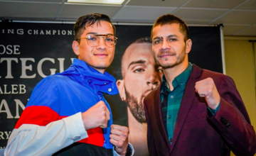 Figueroa and Flores pose for a pic days before their Jan. 13, 2019 fight.