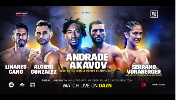Andrade takes on Akavov atop a DAZN card.