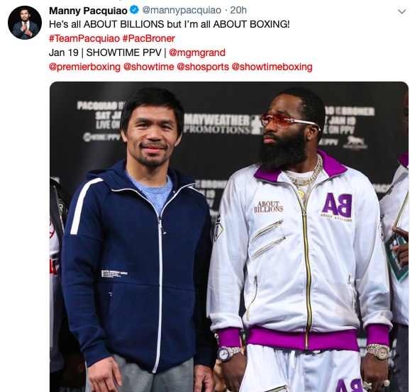 Manny Pacquiao is the favorite to beat Adrien Broner on Saturday, Jan. 19, 2019, in Las Vegas. This is the most anticipated boxing this weekend.