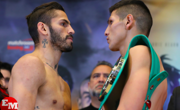 Linares looks at Cano at the Thursday, Jan. 17, 2019 weigh-in.