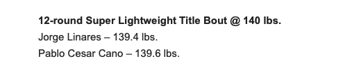Linares and Cano made weight for their junior welterweight fight in NY on Jan. 19, 2019.
