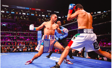 Keith Thurman fires a right hand at Josesito Lopez on FOX.