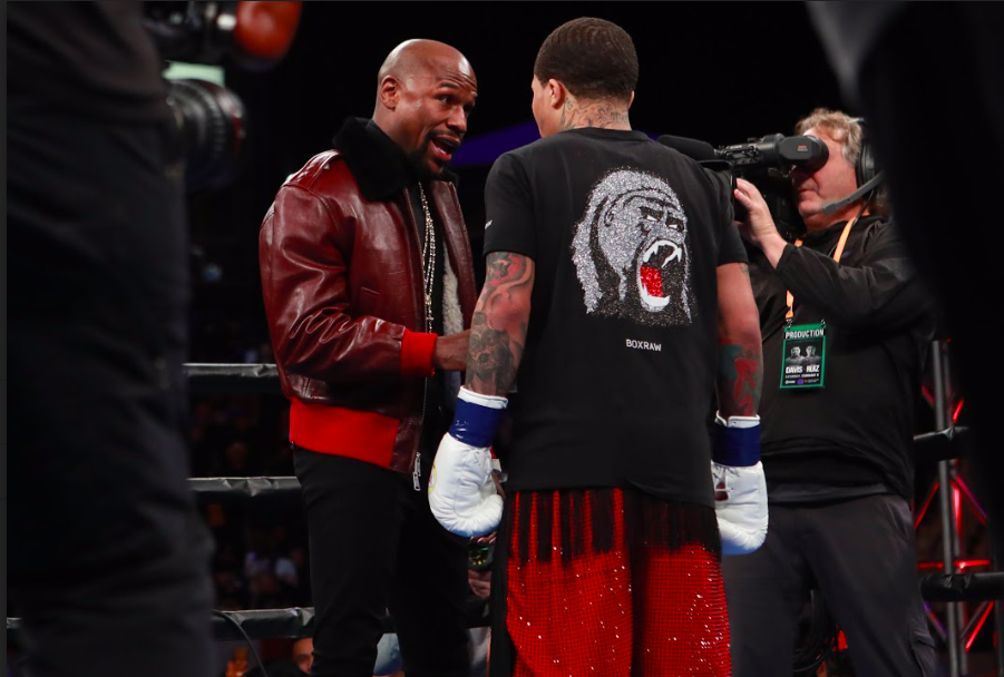 Floyd Mayweather gives instructions to Gervonta Davis on Feb. 9, 2019 in Carson, CA.