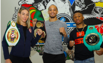 Mikaela Mayer, Rob Brant and Josh Greer pose for pic.