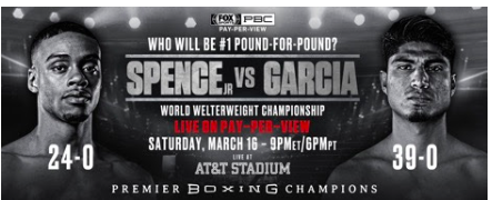 On March 16, Mikey Garcia fights Errol Spence on pay per view.