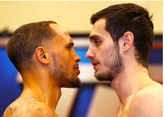 Brant (left) and Baysangurov stare into each others' souls, ahead of their Feb. 15, 2019 fight.
