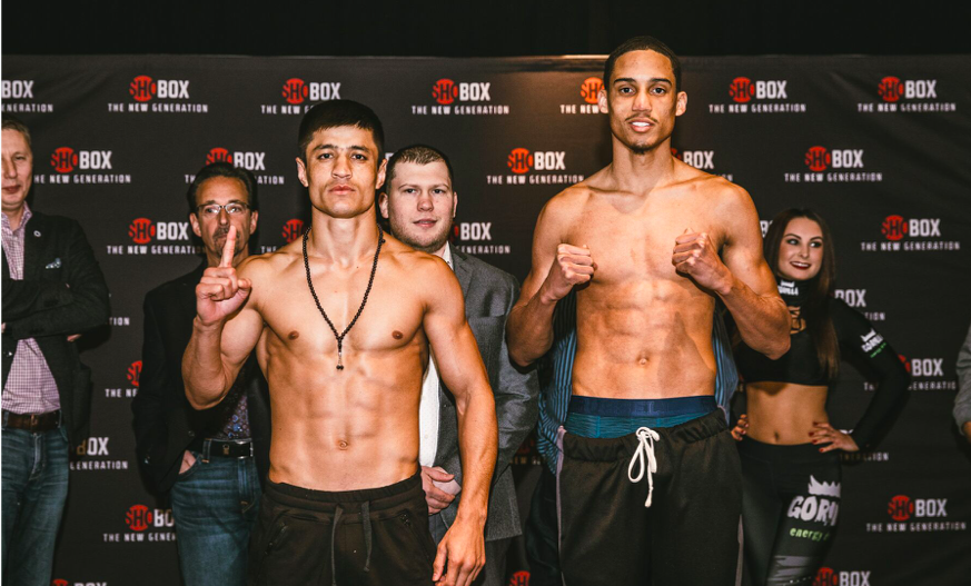 Banger Ergashev (left) takes on technician Fox, on the Feb. 15 ShoBox. Rosie Cohe pic