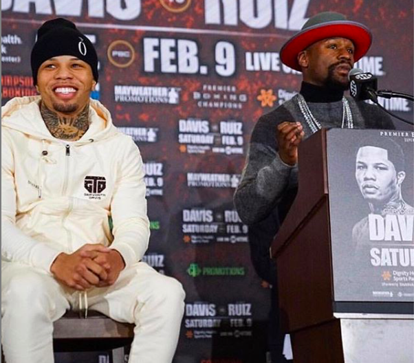 Gervonta Davis, seen with promoter Floyd Mayweather, isn't as busy as a throwback fighter..and he gets frustrated at the lack of activity.