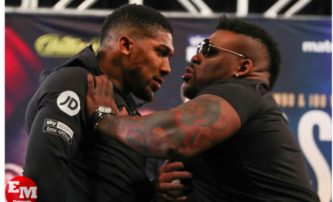 Anthony Joshua and Jarrell MIller have words at a Feb. 19 press conference to hype their June 1 faceoff at Madison Square Garden.