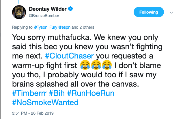Deontay Wilder insults Tyson Fury for taking another fight before rematching him.