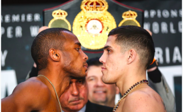 Erislandy Lara looks at Brian Castano on March 1, 2019.