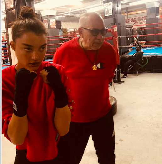 Roca instructs model Sarah Simmons at Gleason's Gym in DUMBO, in February 2019.