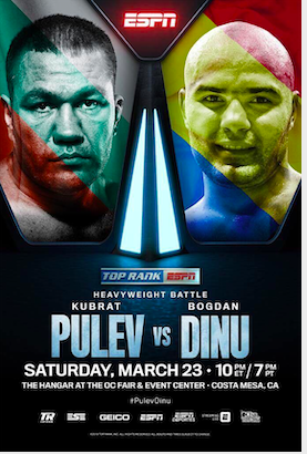 Dinu lost to Big baby Miller and the 37 year old Pulev is the favorite headed into this heavyweight clash.