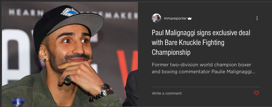 Malignaggi surprised fight fans when he said he'd be going back to fighting...but in the bare knuckle realm.