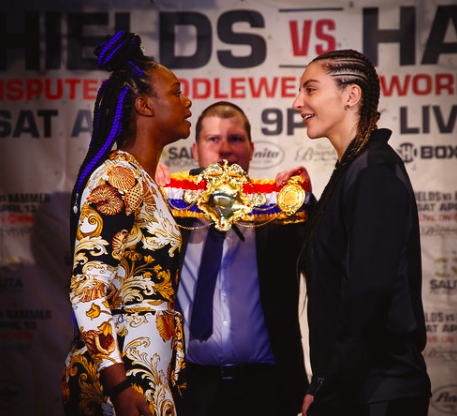 Shields and Hammer stare down at the Wednesday media luncheon in NYC.