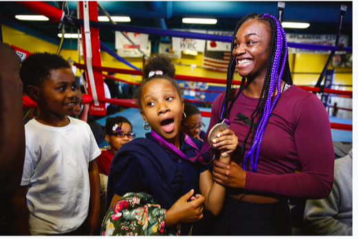 Claressa Shields met with Give A Kid A Dream kids in NJ.