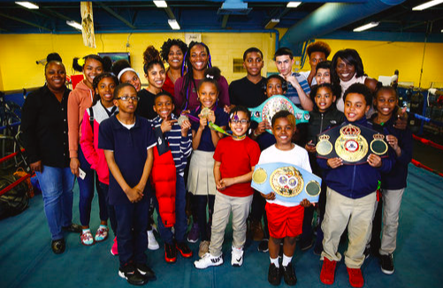 Give A Kid A Dream kids met middleweights Claressa Shields and Christina Hammer.