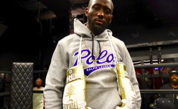 Terence Crawford poses for pic, by shooter Mikey Williams.