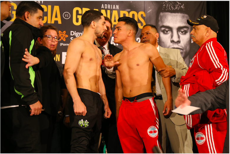 Garcia and Granados get heated during Friday weigh in.