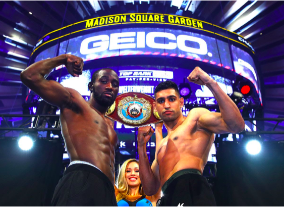 Crawford and Khan make weight Friday ahead of their April 20th clash. Mikey Williams pic