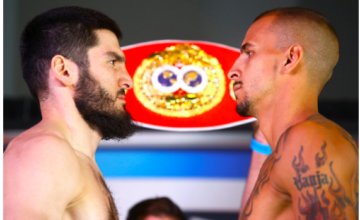 Beterbiev and Kalajdzic make weight for their May 4 clash. Mikey Williams pic for Top Rank