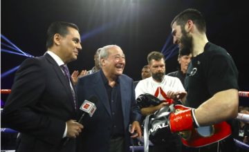 Promoter Bob Arum enjoyed the Beterbiev KO on the May 4 Top Rank Stockton, CA show.