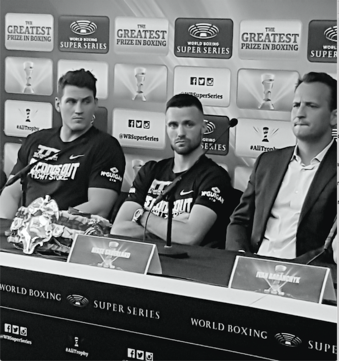 Left to right, trainer Shane McGuigan, Josh Taylor and WBSS chief, Nisse Sauerland.