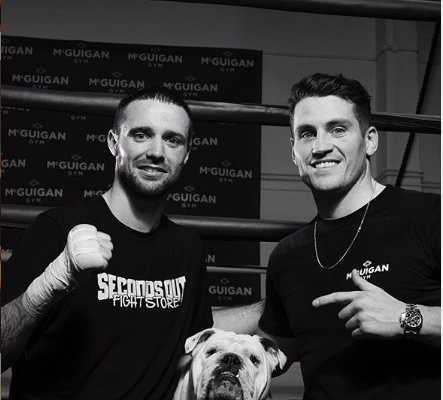 Taylor,left, and trainer McGuigan, right. The trainer chatted with NYF about the scrap with Baranchyk.