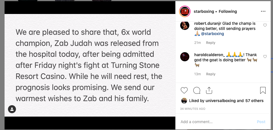 Zab Judah was taken to the hopspital after his Friday night fight, experienced a brain bleed, but the damage wasn't as severe as feared.