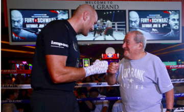 "LAS VEGAS (June 11, 2019) – The undefeated lineal heavyweight champion of the world — Tyson Fury AKA ""The Gypsy King"" — put on a show Tuesday afternoon in Las Vegas at the media workout to promote Saturday's title defense against Tom Schwarz at MGM Grand Garden Arena. In the co-feature, former two-time super middleweight world title challenger Jesse ""Hollywood"" Hart will make his light heavyweight debut versus longtime contender Sullivan Barrera. And, in the featured undercard bout, 2016 U.S. Olympian and top 130-pound contender Mikaela Mayer will look to extend her unbeaten record versus Lizbeth Crespo in a 10-rounder. After working out at the MGM Grand, this is what the fighters had to say. Tyson Fury ""I box because I like to keep happy and it keeps me happy to fight. I plan to box until I can't box anymore. I feel fantastic at the minute. Boxing keeps me really happy, and I'm very happy with where I am in my life at the minute. I want to box on. I don't see myself retiring. I just turned 30 years old. I've got over 10 years left in this game, so you'll have to keep seeing me for the next 10 years, I'm afraid. Keep entertaining, keep putting on great shows."" ""The only title that I care about is the lineal championship of the world. It goes back a long, long way, and that's the one I'm defending with pride and honor."" ""If you look at the Ring Magazine ratings, I think they get it quite right. I think that's the official ratings of today, the most fair, the most accurate."" On rising from the Deontay Wilder knockdown in the 12th round ""I think it was a higher power that brought me to my feet to spread the word on mental health and to help other people. I hope it inspired many people as I enjoyed getting up off that canvas and fighting on. And it takes more than a punch to knock me down and make me stay down."" Tom Schwarz ""I love Las Vegas. This is a great opportunity for me. I'll win this fight. I'm ready."" ""I'm fighting for my family and my country. I have a lot of inspiration. I'm ready to shock the world. This is a great time in the heavyweight division, and I am happy to be part of it. On Saturday night, it's my time. I am prepared. Tyson Fury picked me for a reason, and I promise a great fight, a dramatic fight, and a memorable moment for all boxing fans."" ""My trainers and I have seen every fight of Tyson's many times. We've analyzed his style and have prepared our best strategy. I have a surprise for Tyson Fury, and he will see what it is on Saturday night."" ""I take inspiration from German heavyweights of the past, including Max Schmeling. It might be time for a German heavyweight to shock the world again."" Jesse Hart ""When I beat him Saturday, I think this is the last you all are going to hear of Sullivan Barrera. Get a look at him, get a picture with him. After Saturday night, we're going to put him in retirement."" ""Tyson Fury is a very colorful guy, an entertainer. He has added life to the heavyweight division. I'm happy to be on this card, and I am looking to put on a show."" ""The 175-pound division is wide open, and I am ready to finally win that world title. Sullivan Barrera is in my way, and I am going to smash him."" ""This is my first fight at light heavyweight. I'm fighting a big puncher, a big name and I am bringing devastating power with me to the division. Watch out."" Sullivan Barrera ""Inside the ring, I will give everything. Jesse Hart knows he's never fought anyone like Sullivan Barrera. He is scared."" ""He is coming up from 168, but the punching power at 175 is not the same. I am a different level than what he's used to. It's going to be a long night for him."" ""For me, every fight is important, I am training hard. He's talking crap, so I am going to shut his mouth."" Mikaela Mayer ""I want to challenge for a world title soon. My team and Top Rank have moved me well these last two years. We've fought some really quality opponents, so we're ready for the world titles at 130."" ESPN+, 10 p.m. ET/7 p.m. PT Tyson Fury (champion) vs. Tom Schwarz (challenger), 12 rounds, Fury's Lineal world heavyweight title, Jesse Hart vs. Sullivan Barrera, 10 rounds, light heavyweight ESPN2 and ESPN Deportes, 7 p.m. ET/4 p.m. PT Mikaela Mayer vs. Lizbeth Crespo, 10 rounds, super featherweight Andy Vences vs. Albert Bell, 10 rounds, Vences' WBC Continental Americas super featherweight belt Isaac Lowe vs. Duarn Vue, 10 rounds, Lowe's WBC International featherweight belt Guido Vianello vs. Kennan Hickmon, 6 rounds, heavyweight Peter Kadiru vs. Juan Torres, 4 rounds, heavyweight SWING BOUTS Sonny Conto vs. Daniel Infante, 4 rounds, heavyweight Cem Kilic vs. Martez McGregor 8 rounds, super middleweight ABOUT FURY VS. SCHWARZ FURY vs. SCHWARZ, the 12-round fight for the lineal heavyweight championship of the world, is presented by Top Rank in association with Frank Warren's Queensberry Promotions and SES Boxing, and is sponsored by Geico. FURY vs. SCHWARZ will take place Saturday, June 15, beginning at 10 p.m. ET/7 p.m. PT at MGM GRAND GARDEN ARENA, and will be produced by Top Rank and ESPN and streamed live on ESPN+. Tickets priced at $500, $300, $100 an $50 are on sale now can be purchased online through axs.com, charge by phone at 866-740-7711 or in person at any MGM Resorts box office."