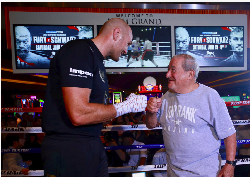 """LAS VEGAS (June 11, 2019) – The undefeated lineal heavyweight champion of the world — Tyson Fury AKA """"The Gypsy King"""" — put on a show Tuesday afternoon in Las Vegas at the media workout to promote Saturday's title defense against Tom Schwarz at MGM Grand Garden Arena. In the co-feature, former two-time super middleweight world title challenger Jesse """"Hollywood"""" Hart will make his light heavyweight debut versus longtime contender Sullivan Barrera. And, in the featured undercard bout, 2016 U.S. Olympian and top 130-pound contender Mikaela Mayer will look to extend her unbeaten record versus Lizbeth Crespo in a 10-rounder. After working out at the MGM Grand, this is what the fighters had to say. Tyson Fury """"I box because I like to keep happy and it keeps me happy to fight. I plan to box until I can't box anymore. I feel fantastic at the minute. Boxing keeps me really happy, and I'm very happy with where I am in my life at the minute. I want to box on. I don't see myself retiring. I just turned 30 years old. I've got over 10 years left in this game, so you'll have to keep seeing me for the next 10 years, I'm afraid. Keep entertaining, keep putting on great shows."""" """"The only title that I care about is the lineal championship of the world. It goes back a long, long way, and that's the one I'm defending with pride and honor."""" """"If you look at the Ring Magazine ratings, I think they get it quite right. I think that's the official ratings of today, the most fair, the most accurate."""" On rising from the Deontay Wilder knockdown in the 12th round """"I think it was a higher power that brought me to my feet to spread the word on mental health and to help other people. I hope it inspired many people as I enjoyed getting up off that canvas and fighting on. And it takes more than a punch to knock me down and make me stay down."""" Tom Schwarz """"I love Las Vegas. This is a great opportunity for me. I'll win this fight. I'm ready."""" """"I'm fighting for my family and my country. I have a lot of """