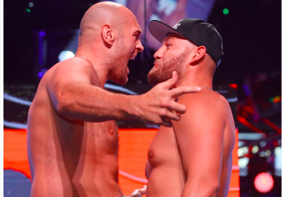 Fury and Schwarz face off at their weigh in, the day before they fight at MGM.