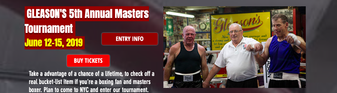 Gleason's Gym runs Masters boxing events, such as the Masters Tournament, their fifth annual.