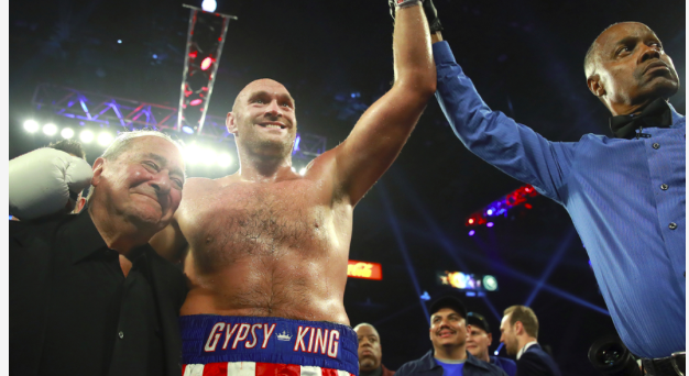 Bob Arum and Tyson Fury exult after the successful Las Vegas debut of The Gypsy King.