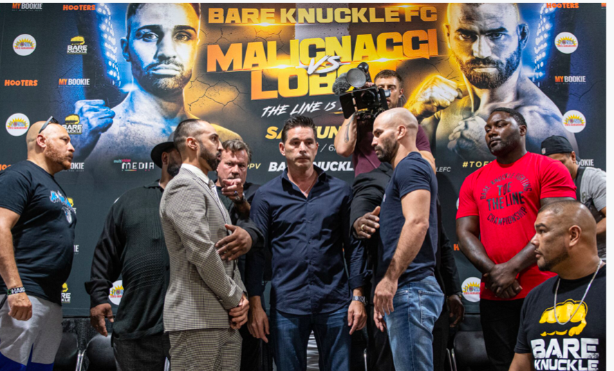 Malignaggi stares down with Lobov on Thursday, June 20, 2019, in Florida. (Phil Lambert pic)