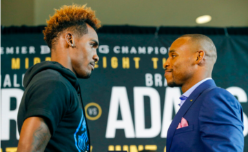Jermall Charlo and Brandon Adams stare down on Thursday. (Esther Lin pic)