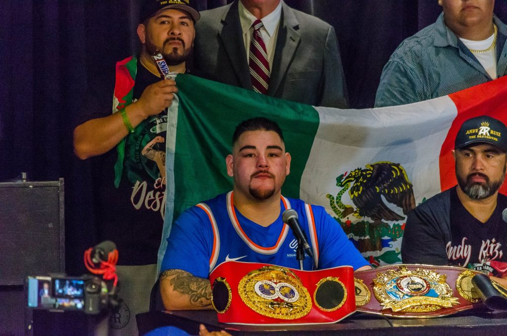 Andy Ruiz with his title belts.
