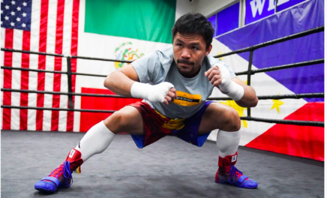 Pacman warming up in Sean Michael Ham pic, at Wild Card, in LA.