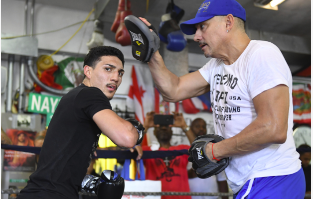 Teofimo Lopez and his dad counting down to fight night. (Pic by Mikey Williams)