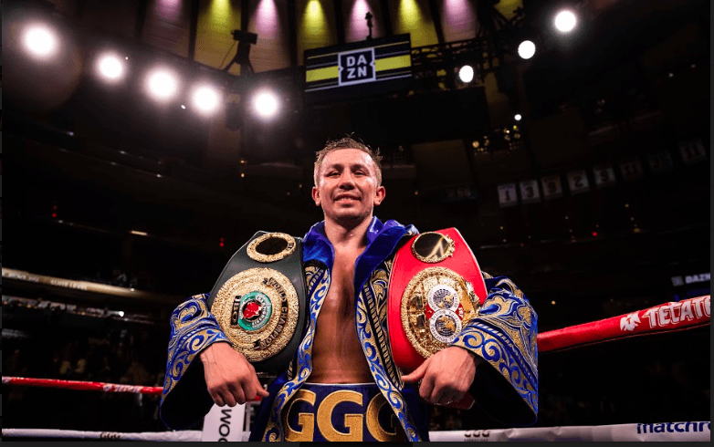 GGG after having his name announced. He doesn't look overwhelmingly joyful. (Amanda Westcott picture)