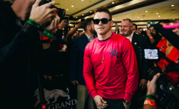 Canelo Alvarez arrives at MGM Grand the Tuesday before his bout against Kovalev.