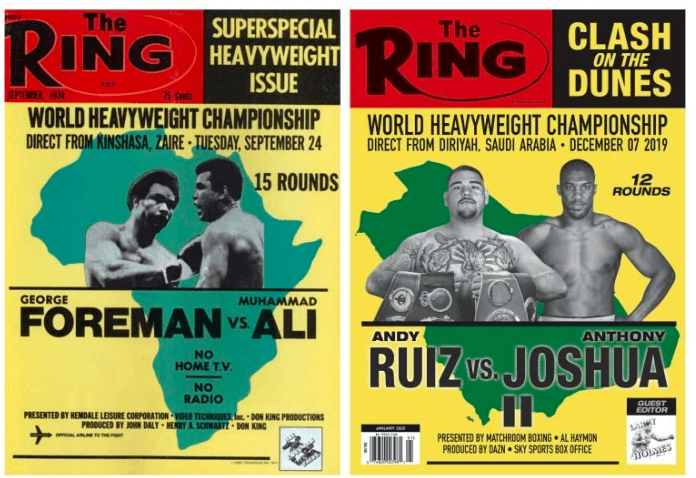 Ring Magazine pays homage to The Rumble in the Jungle with their Ruiz-Joshua 2 cover.