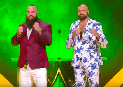 Braun Strowman, left, and Tyson Fury fought on Oct. 31, 2019 on a WWE show in Saudi Arabia.