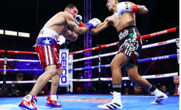 Berchelt's heavy hands and aggression bowled over Sosa. Mikey Williams picture, for Top Rank.