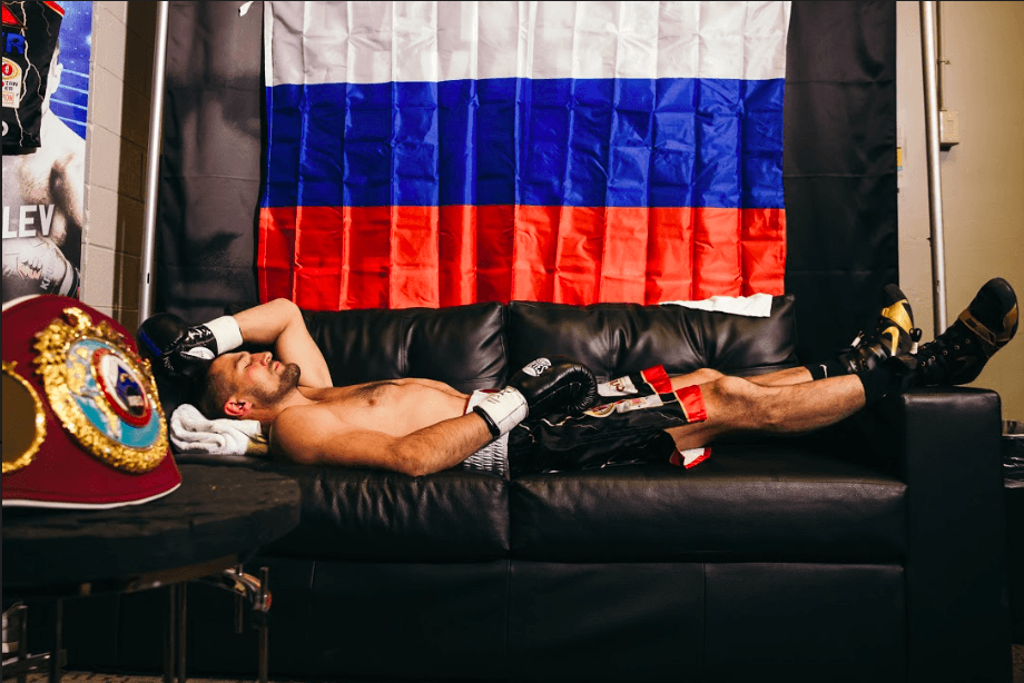 Sergey Kovalev waits to get the call for his ring walk Nov. 2. (Amanda Westcott picture)