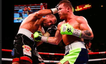 Canelo Alvarez lands a hard shot on Sergey Kovalev in Las Vegas Nov. 2, 2019.