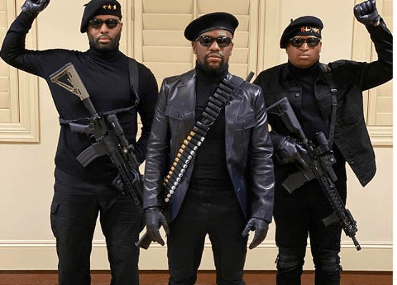"""Floyd Mayweather dressed up for Halloween, as a """"Black Panther."""""""