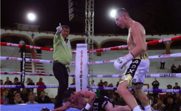 Pablo Cano was knocked down, but came back to stop Roberto Ortiz in Mexico.